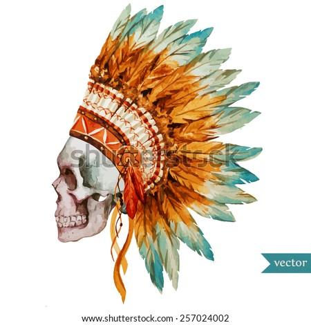 war bonnet watercolor  skull