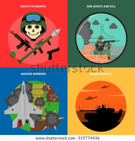 war concept icons set with