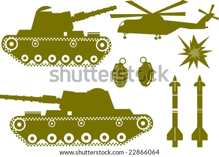 War elements like a war tank, a bomb grenade, missiles, helicopter and explosions