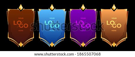 War flag or Shield of the Cartoon Ranking Game. Medieval Shield. Shield for your emblem or logo can also be used in mobile or web games. for logo place.