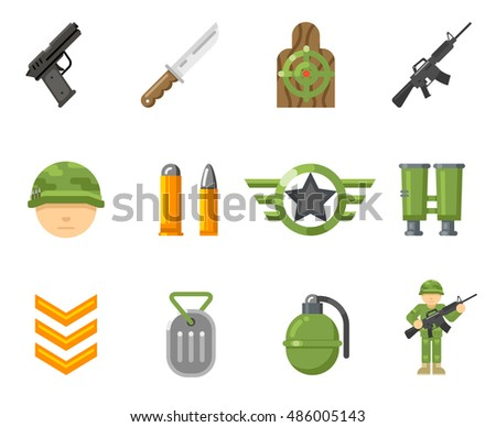 war game flat icons  or army