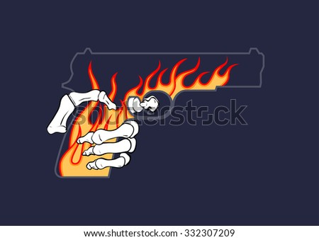 war gun with skeleton hand