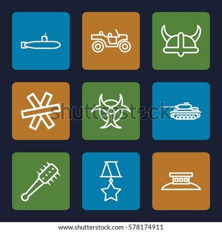 war icon set of 9 war outline