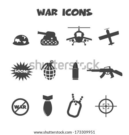 war icons  mono vector symbols