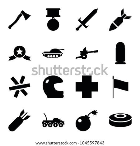 war icons set of 16 editable