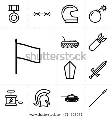 war icons set of 13 editable