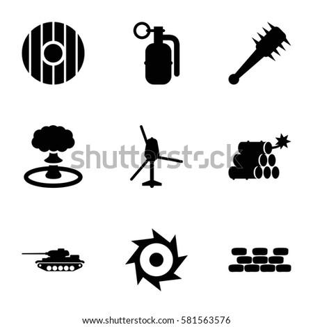 war icons set set of 9 war