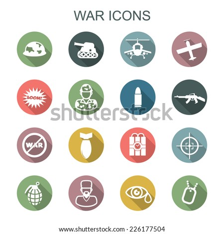 war long shadow icons  flat