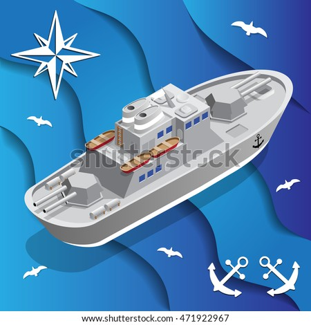 war ship isometric vector
