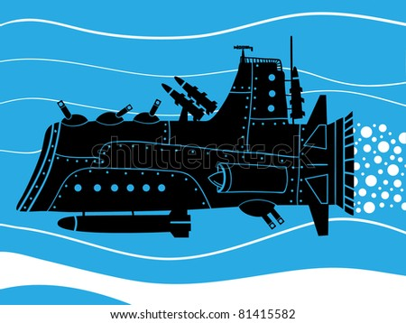 war submarine with missile and turrets