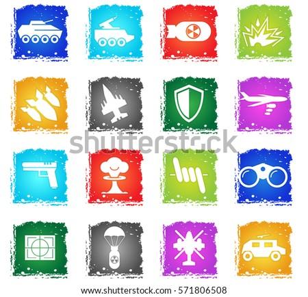 war symbols vector web icons in