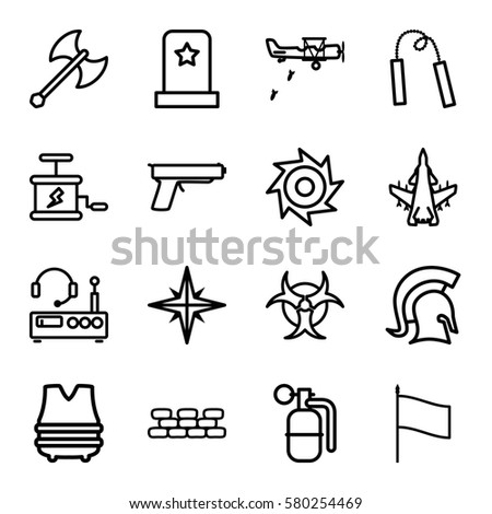 war vector icons set of 16 war