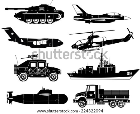 war vehicles black   white