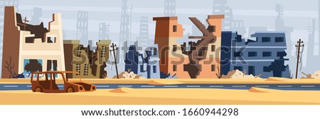 War zone. Damaged city destroy environment broken buildings and road destruction collapsed world vector cartoon background