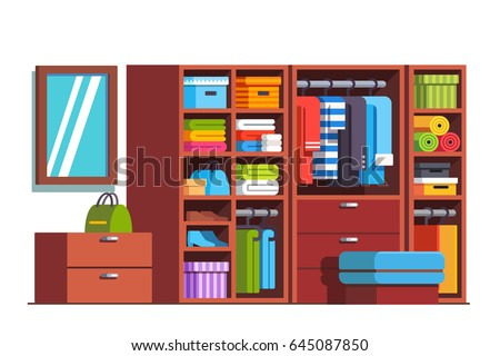 Wardrobe dressing room interior design with big wooden closet furniture full of boxes, bags, clothes, dresses and shoes. Drawers & shelves. Flat style vector illustration isolated on white background.