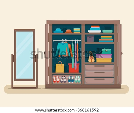 Wardrobe for cloths with mirror. Closet with clothes, bags, boxes and shoes. Flat style vector illustration.
