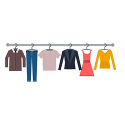 Wardrobe of clothes. Change of clothes, vector illustration