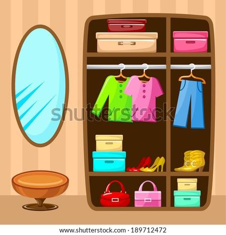 Wardrobe room. Furniture. vector - stock vector