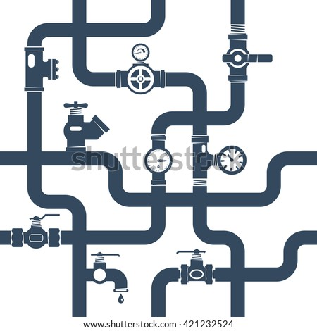 Ware pipes System Flat Concept in Black and White Color Vector Illustration