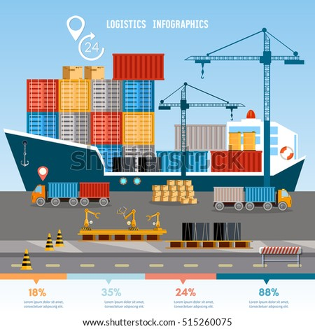 Warehouse and shipping port infographics logistic, shipping and delivery warehouse vector illustration. Sea transportation and logistic infographic