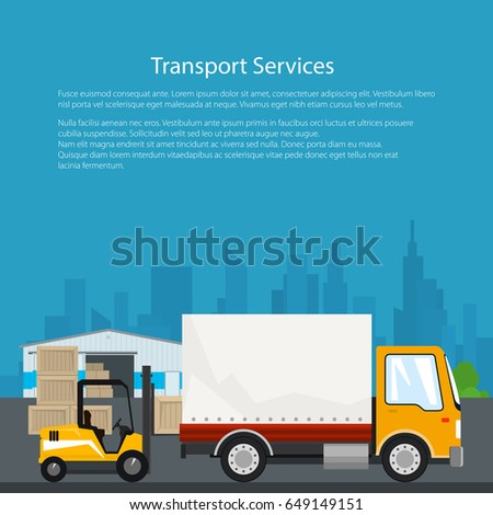 Warehouse and Transportation Services ,Warehouse with Forklift Truck and Lorry on the Background of the City, Unloading or Loading of Goods, Flyer Brochure Poster Design, Vector Illustration