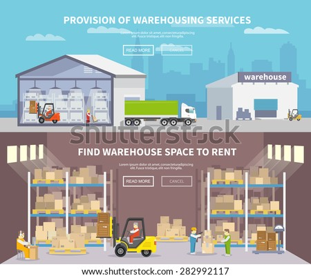 Warehouse banner set with shipping and delivery flat elements isolated vector illustration