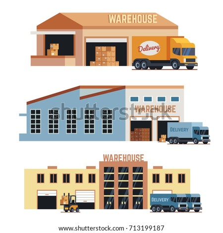 Warehouse building, industrial construction and factory storage vector icons. Set of warehouse building and delivery lorry illustration