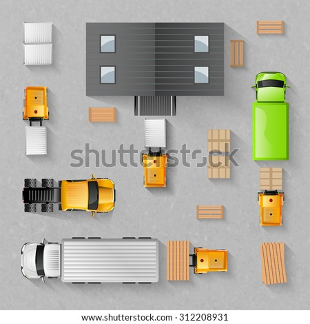 Warehouse concept with top view trucks and buildings isolated vector illustration