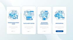 Warehouse customer services blue onboarding mobile app page screen with concepts. Order storage and shipping walkthrough 5 steps graphic instructions. UI vector template with RGB color illustrations