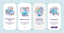 Warehouse customer services onboarding mobile app page screen with concepts. Order storage and shipping walkthrough 5 steps graphic instructions. UI vector template with RGB color illustrations