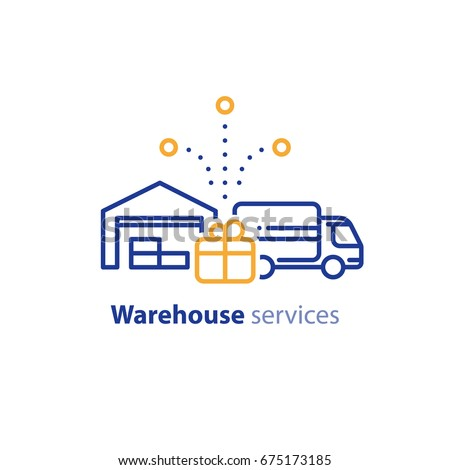 Warehouse distribution solution concept, truck delivery services and transportation company logo elements, shipping multiple order line icon, combined parcel outline vector