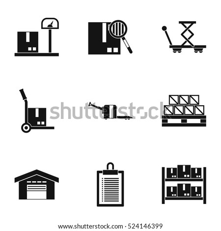 warehouse icons set simple