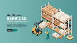 Warehouse industrial space storage pick pack orders shipping delivering logistic services isometric landing page banner vector illustration