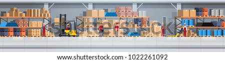 Warehouse Interior Box On Rack And People Working. Logistic Delivery Service Concept Horizontal Banner Flat Vector Illustration