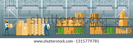 Warehouse Interior. Goods, Freight, Cargo on Shelf. Storage with Tank, Pallet, Container and Box. Professional Factory Worker Character in Overall Uniform Checking Package. Cartoon Vector Illustration