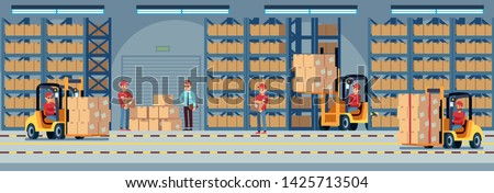 Warehouse interior. Industrial factory worker working in stockroom of storehouse. Forklift and delivery truck with loader and wooden container in large hangar vector logistic concept