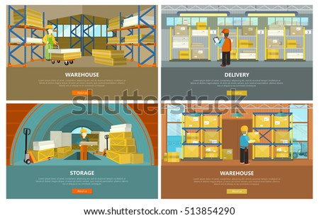 Warehouse interior, storage and delivery banners. Equipment delivery process of warehouse. Logisti and factory building interior, business delivery, logistics, storage cargo illustration.