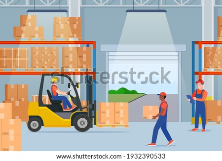 Warehouse interior with cardboard boxes on metal racks. Warehouse interior with goods, pallet trucks, forklift truck and container package boxes. Vector illustration in flat style