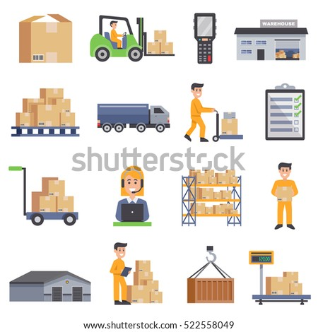Warehouse isolated flat icons set  of delivery truck shelves with goods scales boxes container and storage workers vector illustration