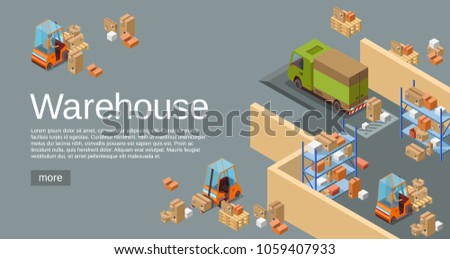 Warehouse isometric 3D vector illustration of logistics transport and delivery vehicles. Isometric warehouse map plan with parcels departments and loader forklift trucks for web site or infographics