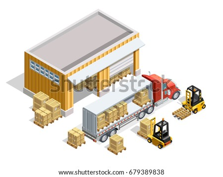 Warehouse isometric template with storage and forklifts loading cargo into truck vector illustration