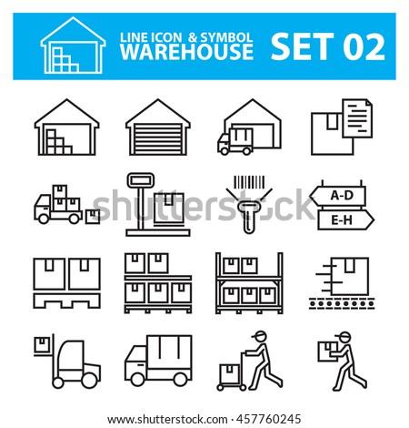 warehouse line icon vector set