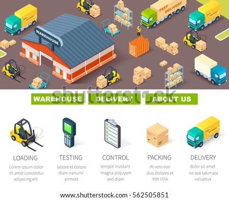 warehouse,logistic and delivery banner with vector isometric illustration of warehouse building and loading process. Ready template for web site or landing page of your company