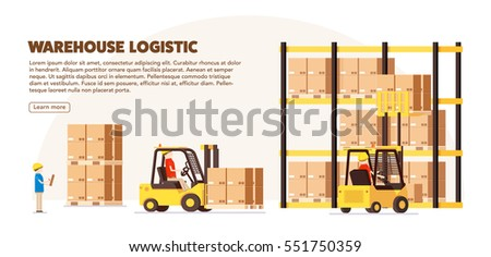 warehouse logistic background isometric objects car human forklift boxes workers vector eps 10