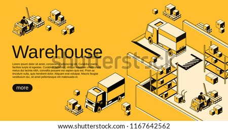 Warehouse logistics and shipment vector illustration in isometric black thin line art on yellow halftone background. Storehouse workers on loader forklift trucks with delivery parcels on pallets