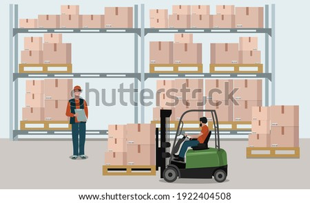 Warehouse of the logistics service of storage and delivery. Uniformed staff, crates on a shelf, a forklift with a man at the wheel. Vector illustration.