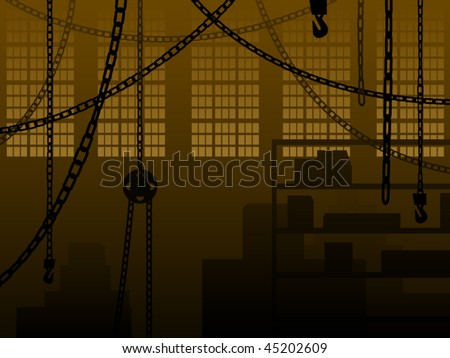 Warehouse or factory background with chains and crates