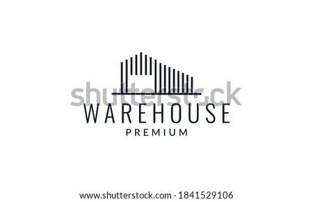 warehouse or shed or storage line art outline  logo vector icon illustration