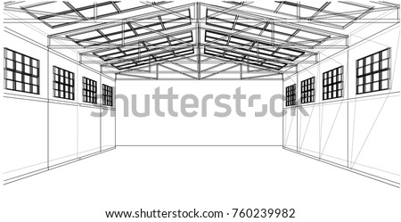 warehouse sketch wire frame