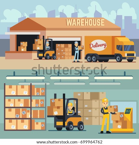 Warehouse storage and shipping logistics vector concept. Storage and transportation cargo, delivery and shipping illustration